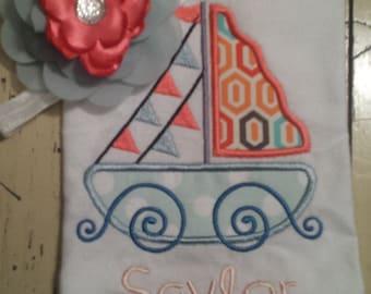 2 piece set: Sailboat embroidered shirt and headband...summer...Shirt and Headband...Birthday