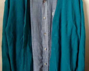 Grandpa Preppy Hipster Cardigan Slouchy Sweater Teal Blue Vintage 70s Mens Sz Med, Union Made in the USA