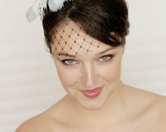 Black fascinator with flower headpiece and birdcage veil, wedding fascinator, flower hair piece, black derby fascinator, swing hair clip