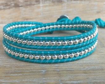 Turquoise Wrap Bracelet, Sterling Silver Bracelet, Leather Wrap, Womens Jewelry, Yoga Bracelet, Boho Wrap, Anniversary Gift, Wife Gift