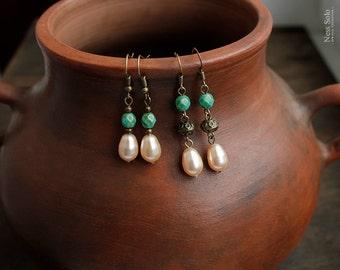 Boho earrings Bohemian earrings Pearl earrings Boho beaded earrings boho jewelry pearl drop earrings boho chic jewelry Bohemian jewelry