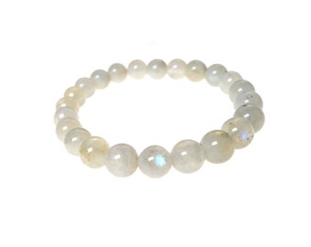 Rainbow Moonstone Bracelet with Tourmaline, Moonstone Beaded Bracelet, Stretch Bracelet, Natural Gemstone Jewelry Chakra Bracelet SE-GSP349