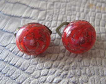 Venetian Murano Red Swirl Glass Button Earrings/ Vintage Age/ RED & Metallic Copper Button Shaped On the Ear Clip Earrings/ As Is Backings