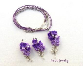 Purple Jewelry, Flower Jewelry, Flower Necklace, Purple Earrings, Pearl Jewelry, Romantic Jewelry, Spring Jewelry, Gift For Women, Floral