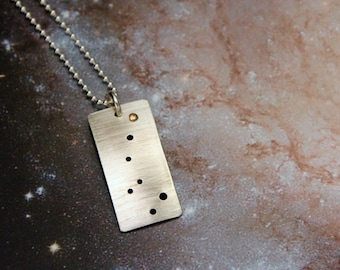 Polaris North Star Little Dipper Ursa Minor constellation sterling silver gold necklace