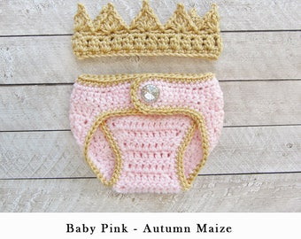 Baby Girl Crochet Crown and Diaper cover, Newborn Crochet Knitted Baby Crown, Newborn Girl Coming Home Outfit, Baby Girl Crown,
