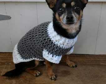 Handmade crochet dog sweater / vest / coat in any two colors Team colors, school colors - Size SX to Small