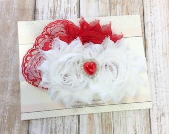 Baby Girl Headband - Baby Bows - Baby Valentines Headband - First Valentines Headband - Girls Valentines Headband - Valentines Day Baby Girl