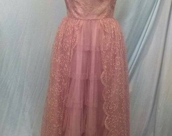 1950's Prom Dress, Prom Dress, Formal Dress, Formal Gown, Lacey Gown, Vintage Dress, Vintage Gown, Vintage Clothing, Vintage Prom Dress