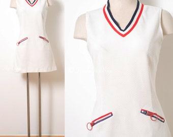 Mod Dress, Mod 60s, Mod White Dress, mod 60s Dress, Vintage white dress, GO GO Dress, Mod Mini Dress, Nautical Dress, sleeveless Dress - M/L