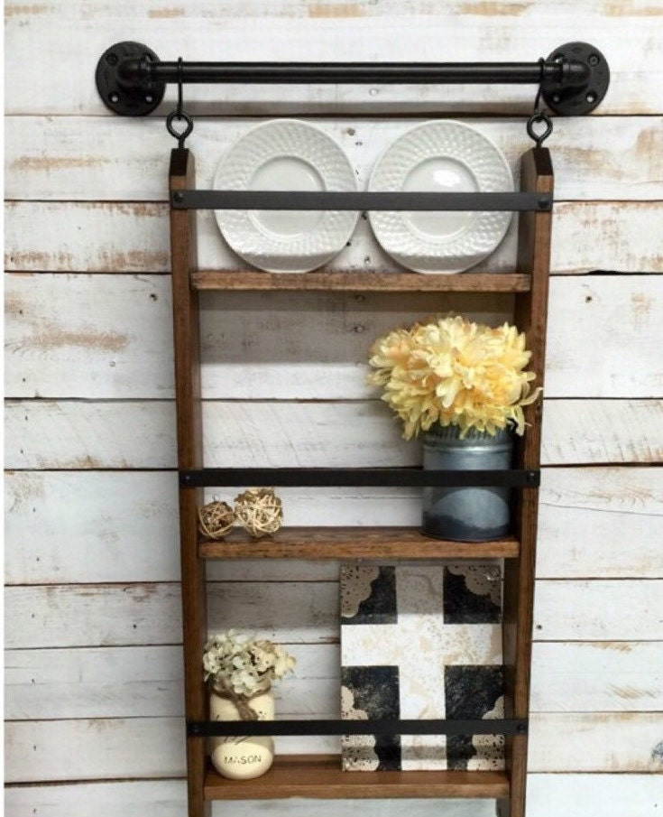 rustic ladder shelf rustic shelf with by countrycornergoods. Black Bedroom Furniture Sets. Home Design Ideas