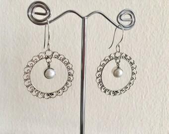 Hoop Earrings - Sterling silver intricate hoop earring with white pearl- Wire Wrapped Hoop Pearl earrings