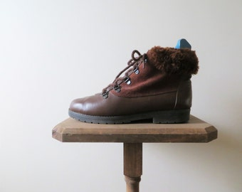 90s Toe Warmers Leather Boots Brown Ankle Boots with Fur Trim Tie Up Hiking Winter Boots Women US Size 7 or EU 37.5