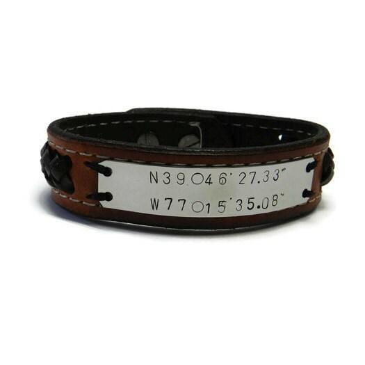 mens personalized gps coordinates gift mens bracelet