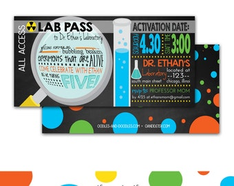 Mad Scientist Party Invitation, Science Birthday Invitation, Science Party, Experiments, Boy's Birthday, Lab Pass, Printable or Printed