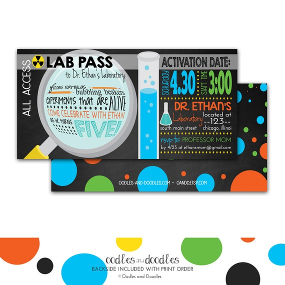Mad Scientist Party Invitation Science Birthday Invitation Science