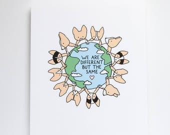 Corgi World Art Print, 8x10 Print, Corgi Print, Dog Print, Art, Cute Print, Illustration, Drawing, Friends, Unity, Different But The Same