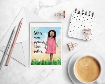 She is more valuable than rubies, Inspirational Note card with envelope of brown girl with curly hair, Christian greeting card. Proverbs