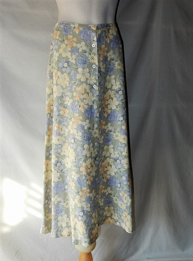 sz 10 lizsport floral maxi skirt pastel linen rayon blend