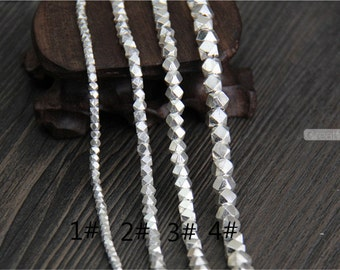 Handmade Sterling Silver Faceted Beads Small size Solid 925 Silver Spacer Beads Karen Hill Tribe Beads 4 sizes to choose SS102