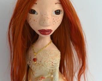 OOAK Art Doll, Sculpted Stone Clay Art Doll, Handmade Doll,  Red Auburn Suri Angora Mohair, The L Series, LONI