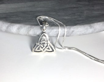 Triquetra Necklace Sterling Silver Celtic Necklace Silver Celtic Pendant  Silver Trinity Knot Necklace Double Triquetra Celtic Charm