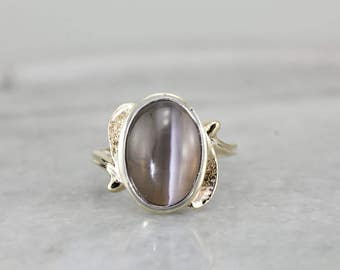 Vintage Cat's Eye Sillimanite Ring, Bypass Style Setting MKVV3F-P