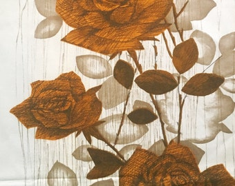 50s Swedish Vintage curtain floral print retro wall hanging Scandinavian design with stylized roses.