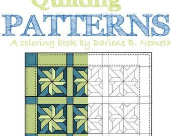 25 Coloring Pages, Quilting Pattern Coloring Book, Wall Art, Gift for her under 20