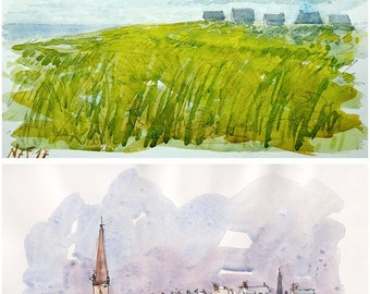 "Lot Brittany original glicée prints 4 painting prints ""Brittany souvenirs"" wall decor print watercolor french wal decor france brittany art"