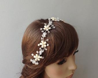 Bridal Hair Vine, Wedding hair vine, bridal tiara, ivory head piece, brides accessories, gift for her, hair flowers