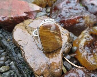 Petrified wood, woodland ring, OOAK, silver ring, size 7, gemstone, boho jewelry, statement ring, zen, wood, metalwork, stone, silver