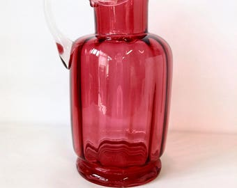 Vintage Pink Red Glass Jug, Cranberry Glass, Hand Blown, Pontil Mark