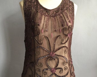 French beaded silk top vintage beaded blouse sequins sleeveless sheer silk chiffon top embroidered silk top size Large beaded tank top shell