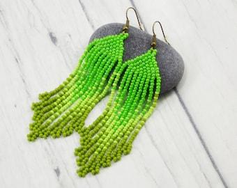 Employee gift Girlfriend gift\for\women Fashion jewelry green earrings green jewelry for teens cute earrings leaf jewelry Dangle earrings