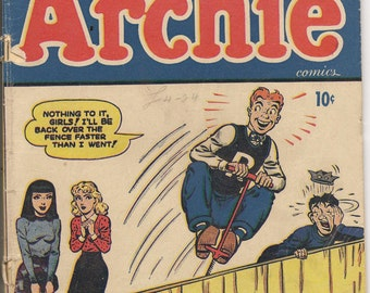 Vintage Archie Comic Book - Archie #14 1945 - MLJ Betty and Veronica Jughead Rare Early Issue- Free Shipping Domestic USA