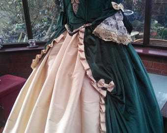 18th century french Marie Antionette crinoline gown custom made to measure with hooped petticote to your own measurements and colors