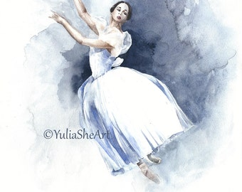 "Original watercolor painting dancing ballerina Giselle ballet home decor wall decor 11x14"""