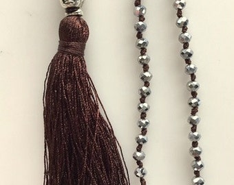 Long Buddha Hand Knotted Tassel Necklace - Dark Chocolate Brown Tassel Necklaces - Silver and Gold Tone Crystals