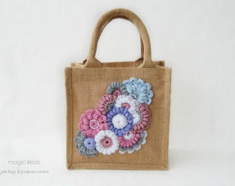 Unique jute tote with freeform crochet decorations,OOAK,burlap,handbag,summer,gift,purse,natural fibres,sustainable,