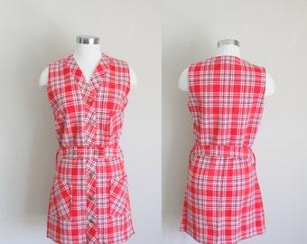 1960s Mod Dress   Plaid Jumper   Red Plaid Dress   Scooter Dress   Small