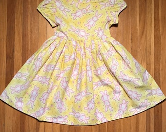 Bunnies // Girls Yellow Easter Dress Size 3T, 4T