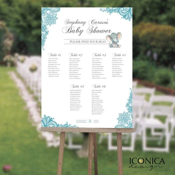 Baby Shower Seating Chart Board Elegant Blue Lace Seating
