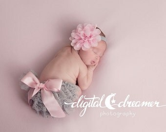Light Pink and Gray Lace Petti Bloomer Set with Matching Headband - Cake Smash Outfit - First Birthday - Photography Prop - Newborn Photos