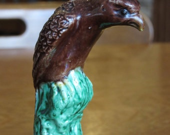 Vintage Chinese Mudbird on Tall Perch, Mud Bird, Falcon, Eagle, Raptor, Hawk, Rare, Mud Figure, Animal, Mudman, Mudmen, Mudbirds, Figurine