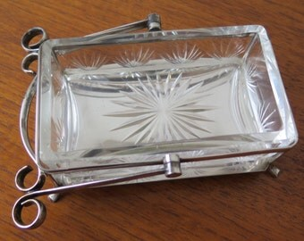 Antique Silverplate and Cut Glass Bon Bon Dish with fold down handle