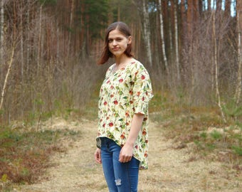Womens linen top, womens linen blouse, womens linen clothing, linen clothing, CollectionWN