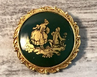 Limoges Proposal Cameo Brooch Pin, Green and Gold Round Brooch, 18th century French Courting Couple, Flowers, Handheld Fan, Lovers