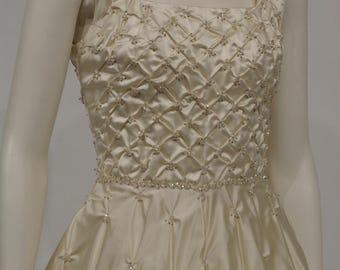 1960 design cream satin wedding dress with beaded bodice