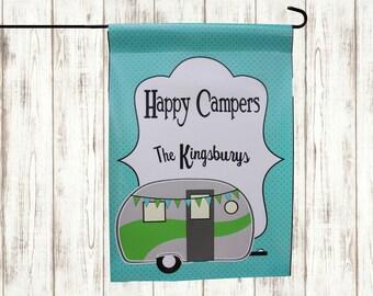 Happy Camper Vinyl Flag - Custom Family Name Yard Sign